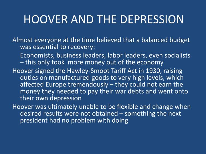 HOOVER AND THE DEPRESSION