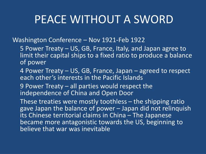 PEACE WITHOUT A SWORD