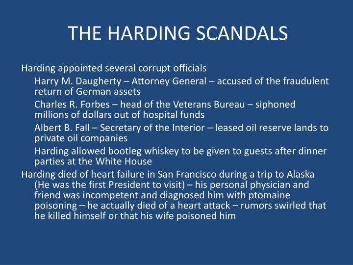 THE HARDING SCANDALS