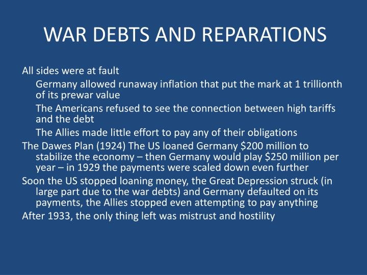 WAR DEBTS AND REPARATIONS