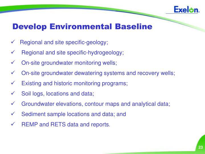 Develop Environmental Baseline