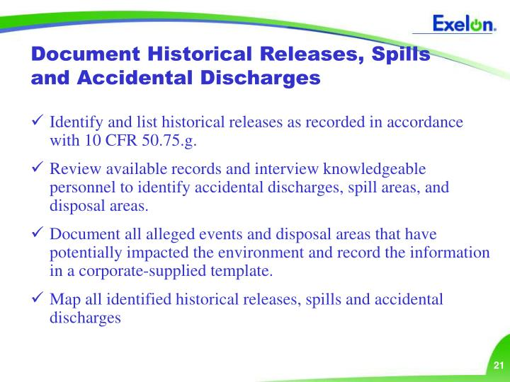 Document Historical Releases, Spills and Accidental Discharges