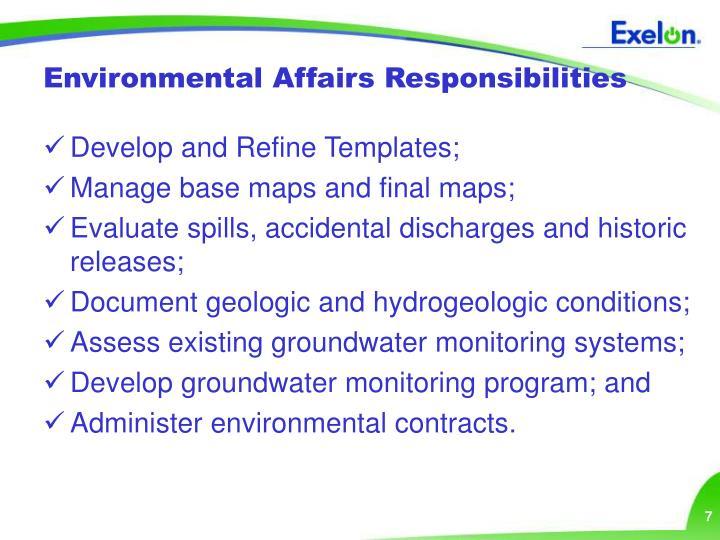 Environmental Affairs Responsibilities