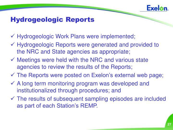 Hydrogeologic Reports
