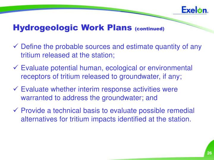 Hydrogeologic Work Plans