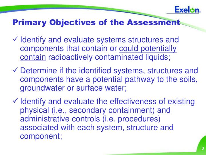 Primary Objectives of the Assessment