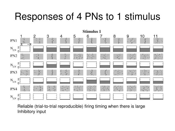Responses of 4 PNs to 1 stimulus