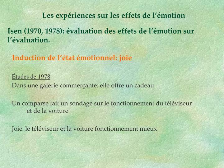 Les expériences sur les effets de l'émotion