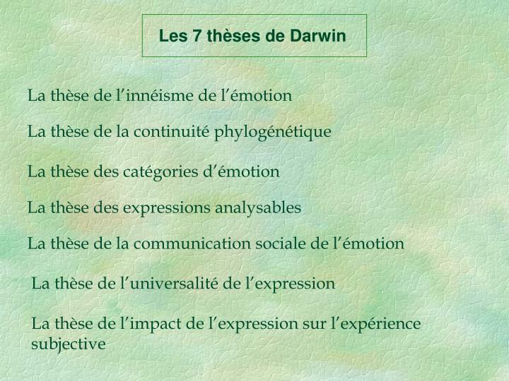 Les 7 thèses de Darwin