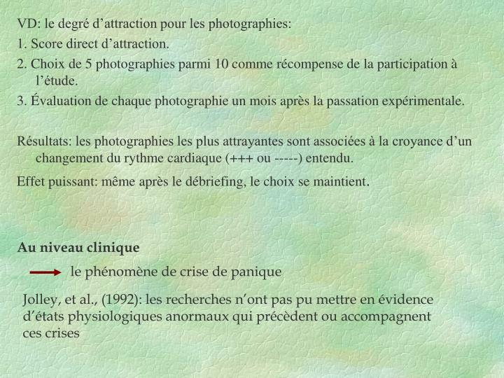 VD: le degré d'attraction pour les photographies: