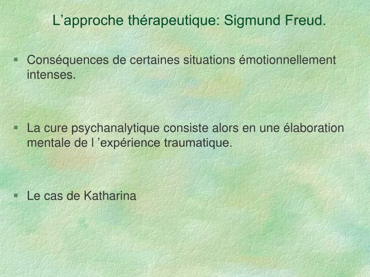 L'approche thérapeutique: Sigmund Freud.