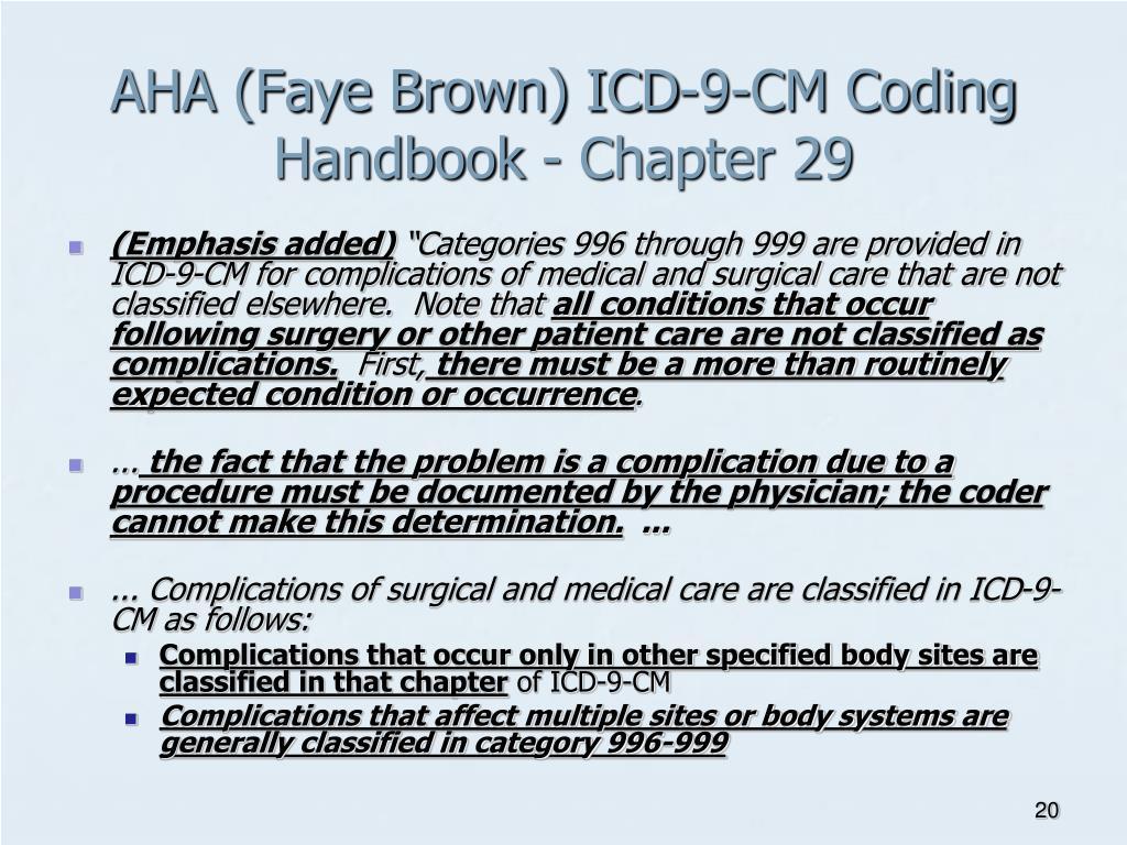 AHA (Faye Brown) ICD-9-CM Coding Handbook - Chapter 29
