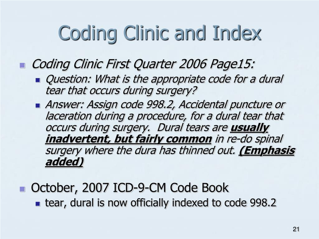 Coding Clinic and Index