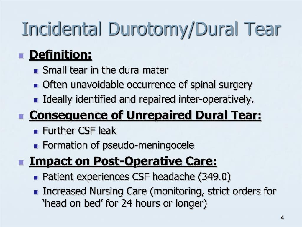 Incidental Durotomy/Dural Tear