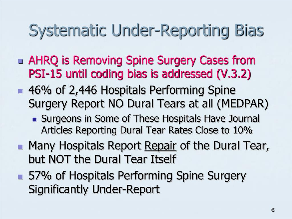 Systematic Under-Reporting Bias