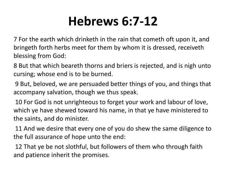Hebrews 6:7-12
