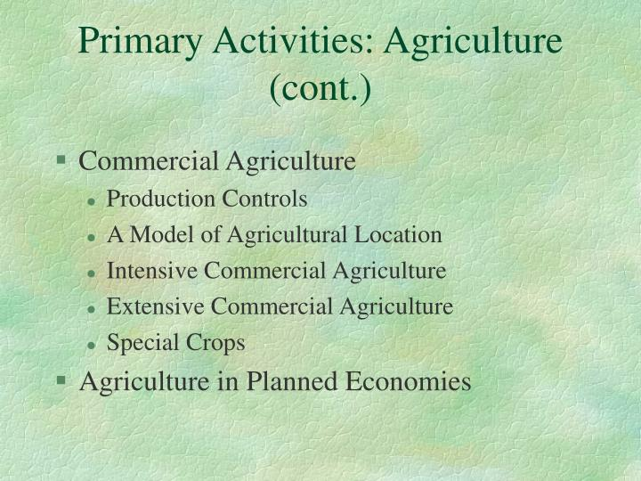 Primary Activities: Agriculture (cont.)
