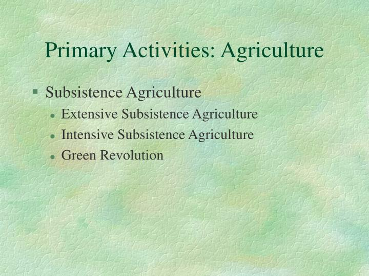 Primary Activities: Agriculture