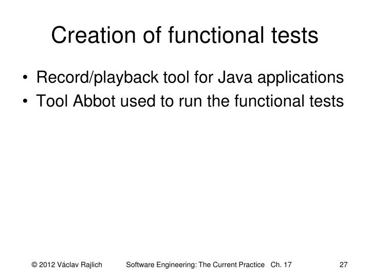Creation of functional tests