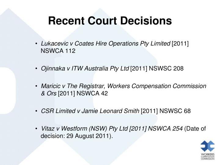 Recent Court Decisions