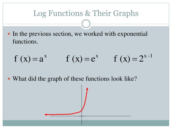 Log functions their graphs