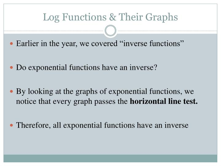 Log functions their graphs1