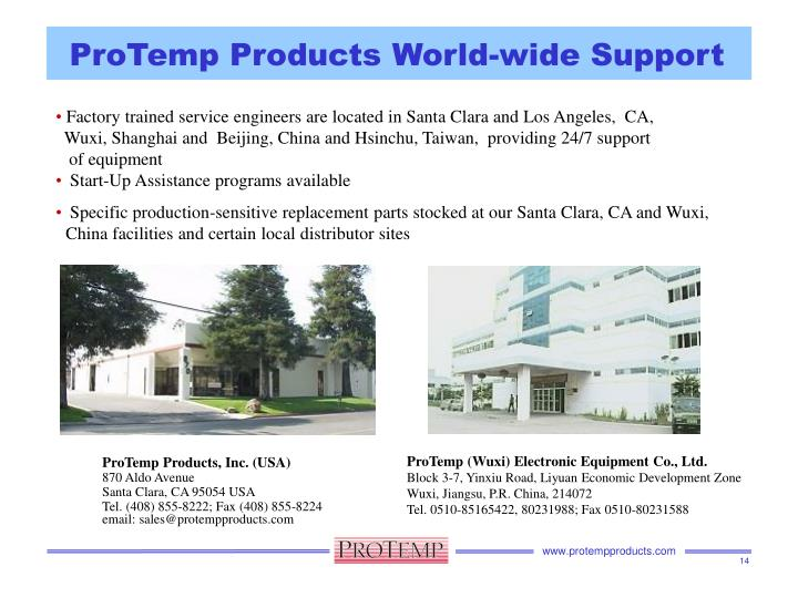 ProTemp Products World-wide Support