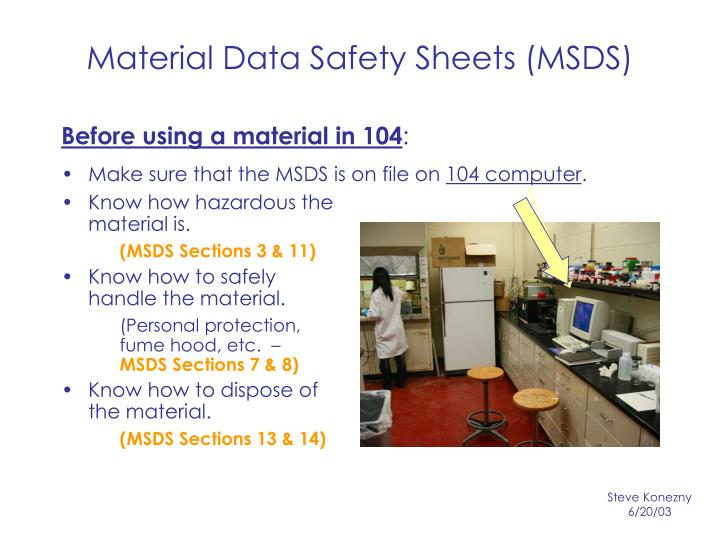Material data safety sheets msds