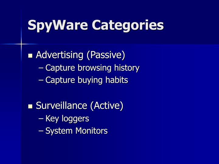 SpyWare Categories