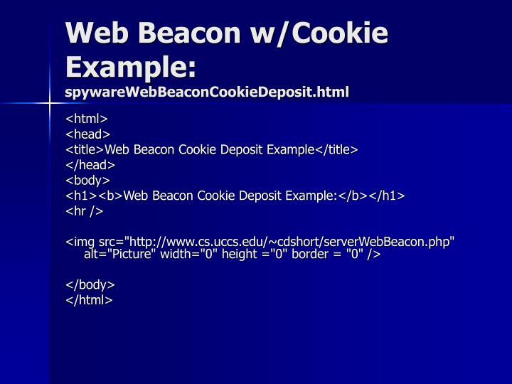 Web Beacon w/Cookie Example:
