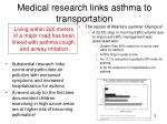 medical research links asthma to transportation