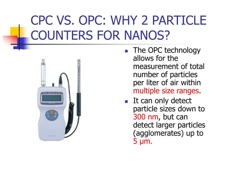 The OPC technology allows for the measurement of total number of particles per liter of air within