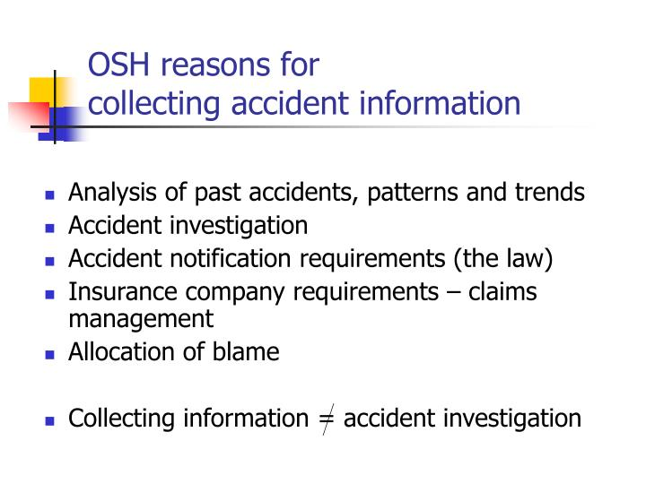 OSH reasons for