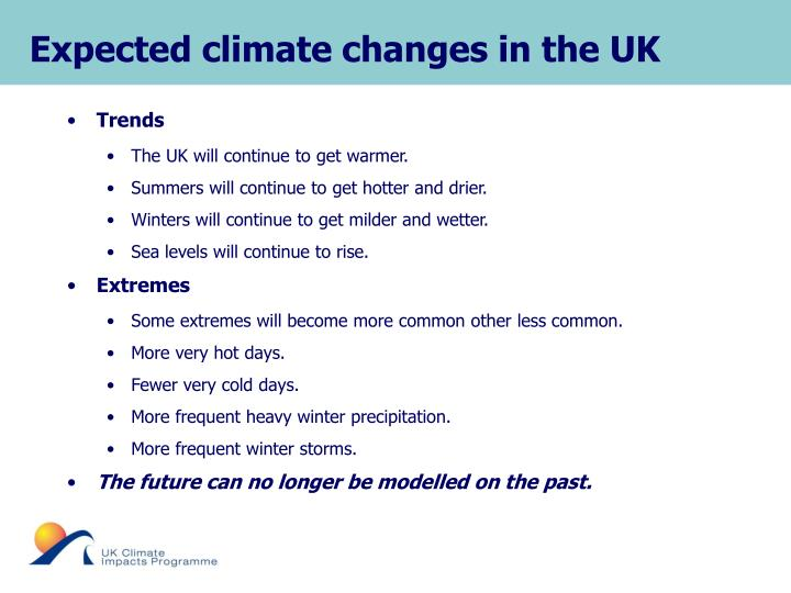 Expected climate changes in the UK