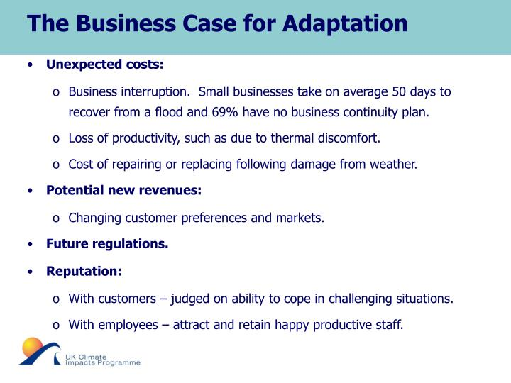 The Business Case for Adaptation