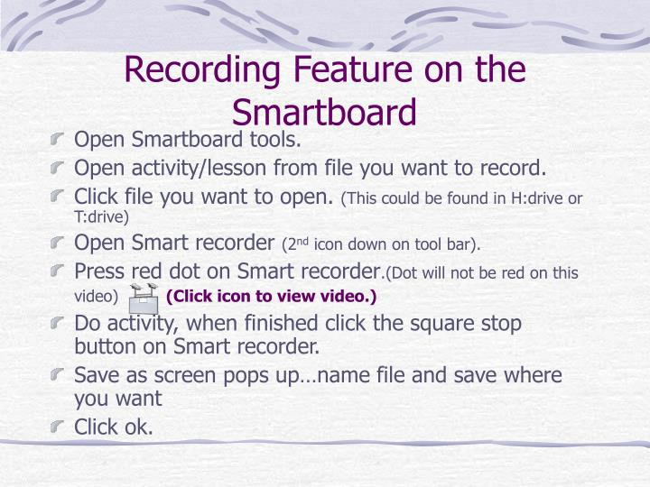 Recording Feature on the Smartboard