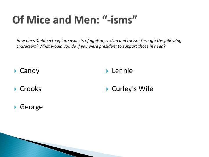 the role of crooks in of mice and men by john steinbeck What is the significance of his role in the novel of mice and men john steinbeck, the author, uses the character of crooks to represent racism and show the .