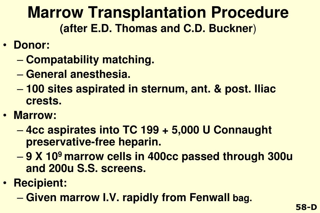 Marrow Transplantation Procedure