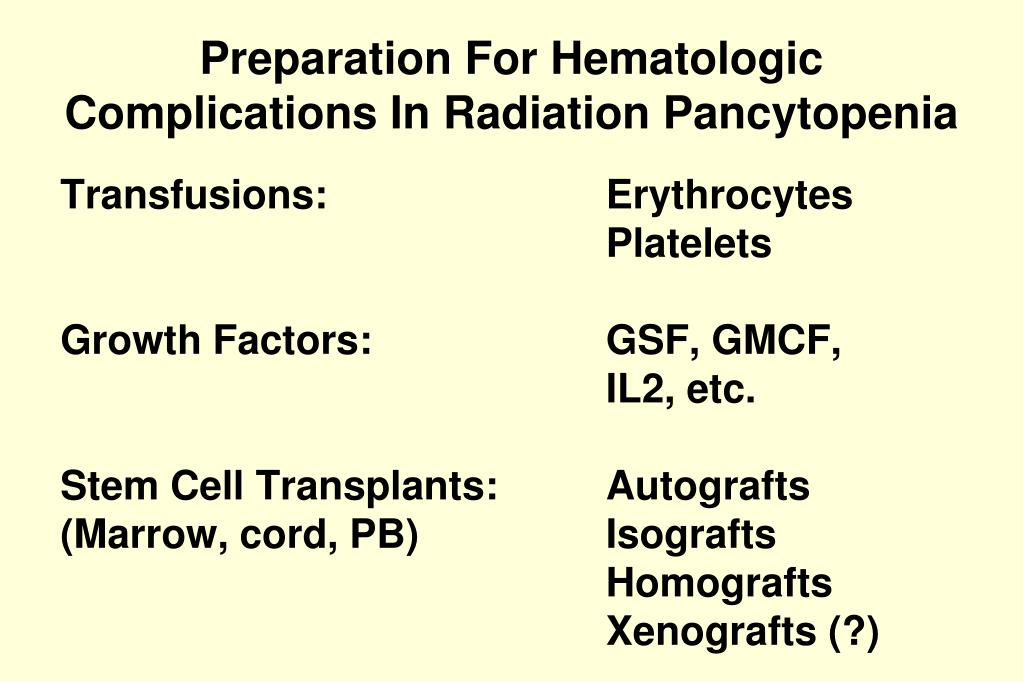 Preparation For Hematologic Complications In Radiation Pancytopenia