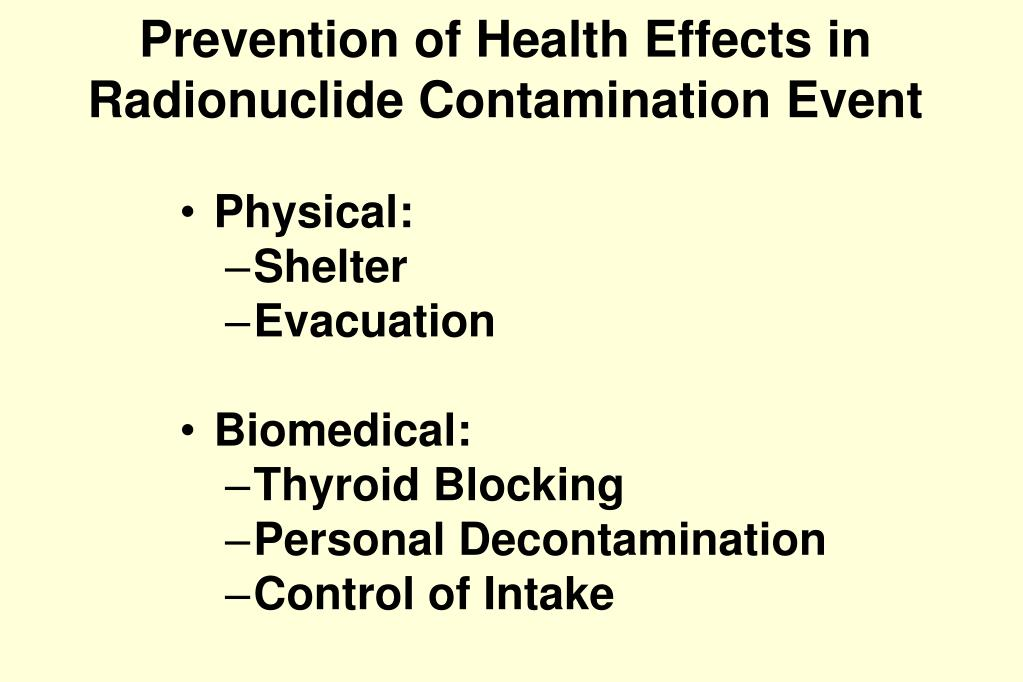 Prevention of Health Effects in