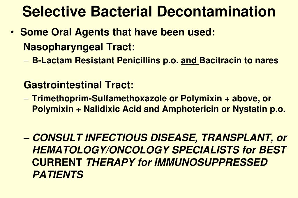Selective Bacterial Decontamination