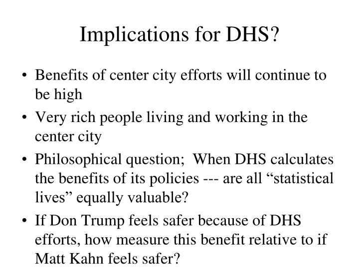 Implications for DHS?