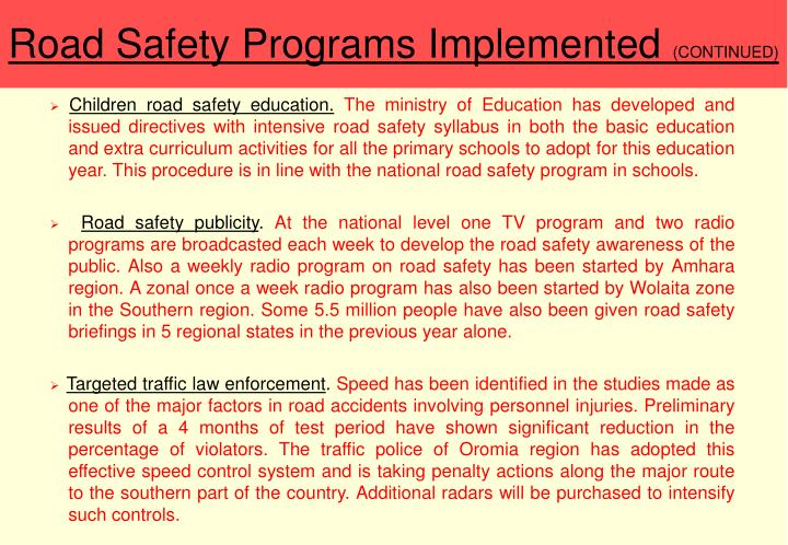 Road Safety Programs Implemented