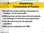 establishing communities of practice