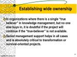 establishing wide ownership