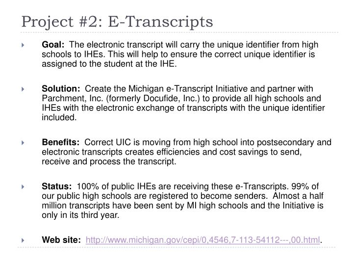Project #2: E-Transcripts