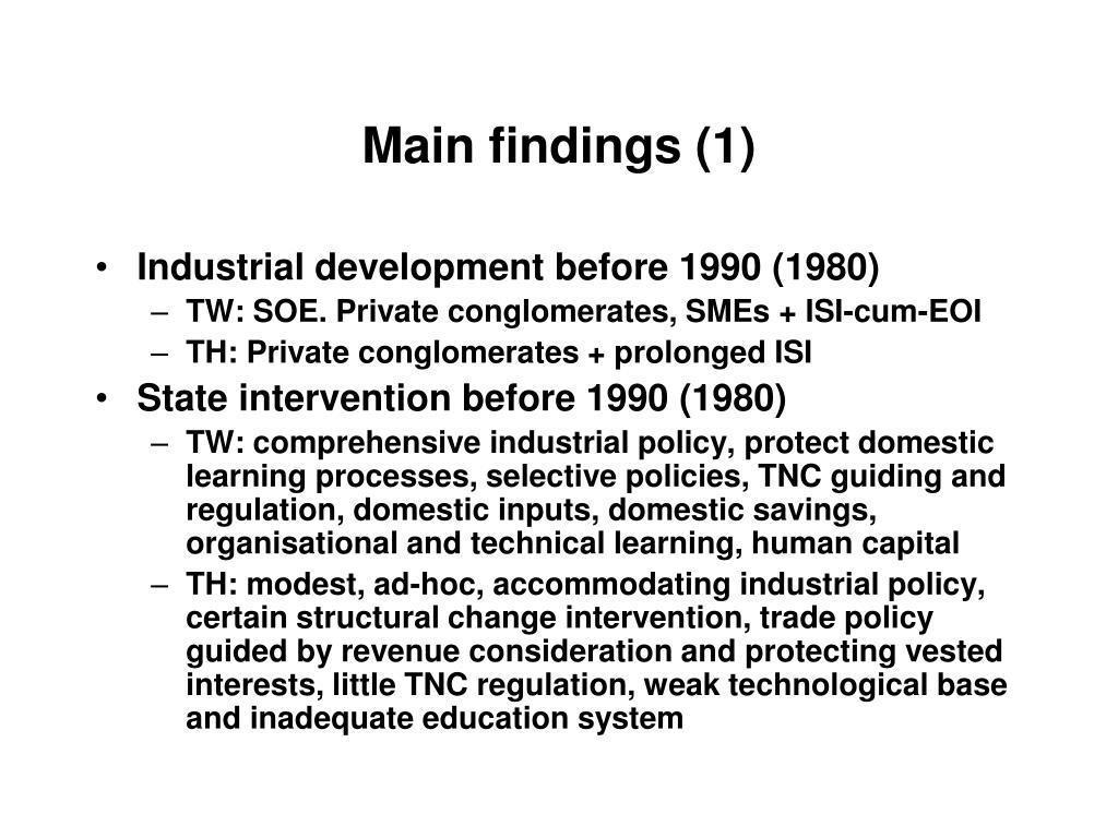 Main findings (1)