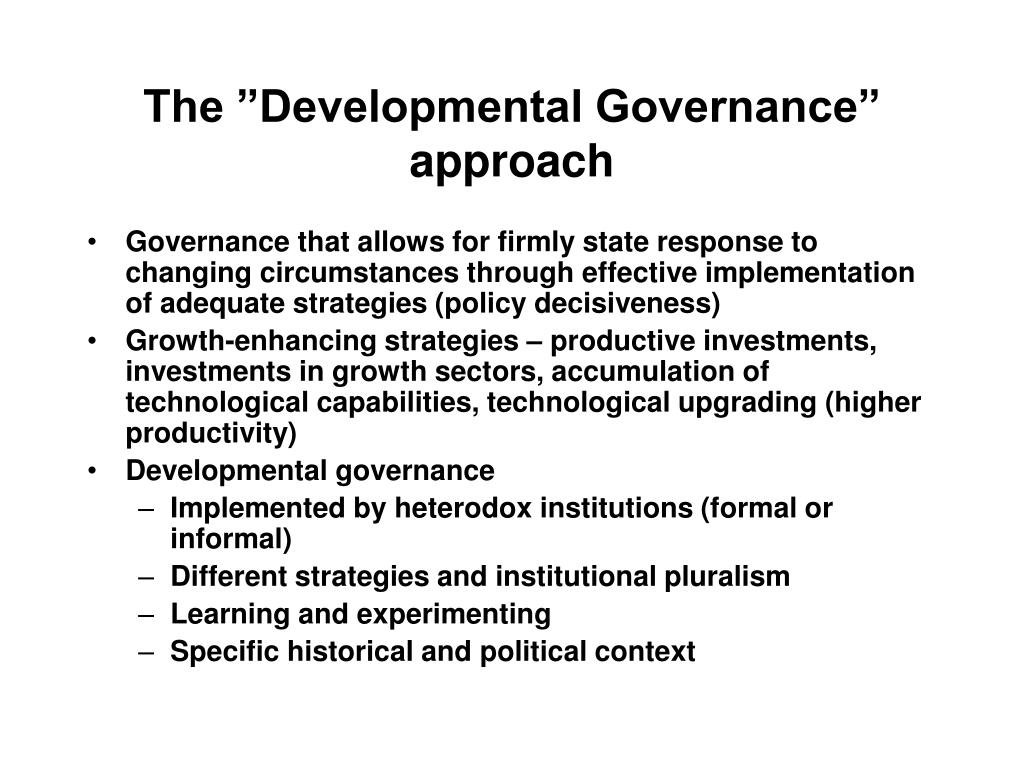 "The ""Developmental Governance"" approach"