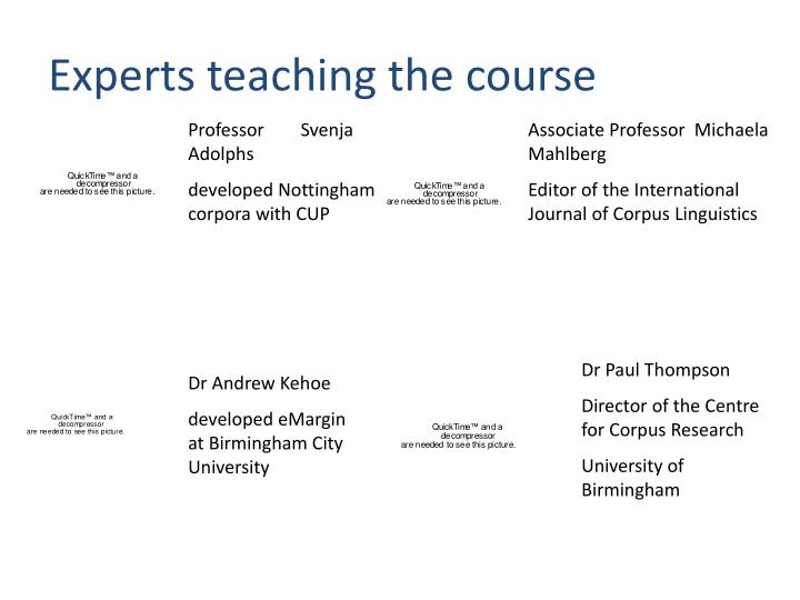Experts teaching the course