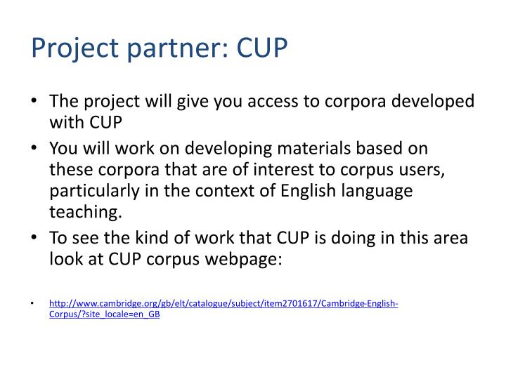 Project partner: CUP